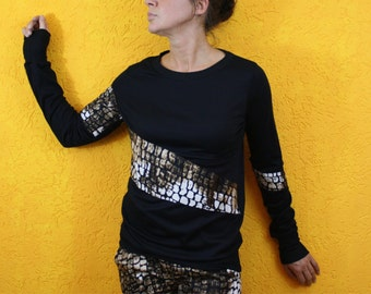 Longsleeve 'Thabo' sweaters Jersey Top Animal Print Top application longsleeve pullover black Giraffe cuffs round neck asymmetrical