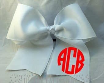 Monogrammed Cheer Bow--White