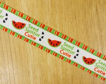 "7/8"" Seed Spitting Cutie Watermelon Printed Grosgrain Ribbon Bows HairBows Craft Supplies"