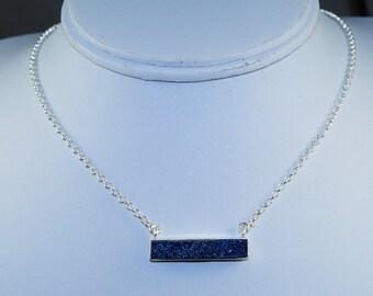 Wonderful Modern Titanium Druzy & Solid 925 Sterling Silver Bar Necklace