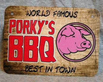 Metal Sign PORKY'S BBQ barbeque grill shack pit restaurant smoker ribs brisket master griller smoking meat barby barbie pulled pork