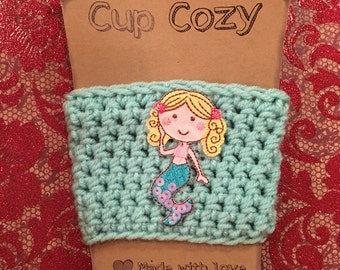 Cup Cozy, Mermaid, Mermaid Cup Cozy, Crochet Cup Cozy, Crochet, Cup Cozy, Gift, Party Favors, Summer Drinkware