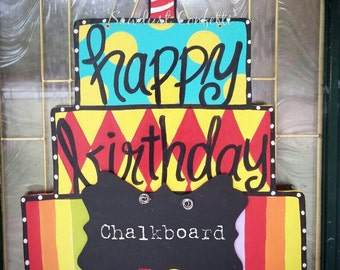 Birthday Cake Door Hanger, Birthday Door Hanger, Cake Door Hanger, Chalkboard, Teacher's Door Hanger, Teacher's gift