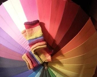 Hand-knitted Fingerless Gloves-rainbow