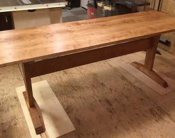 Maple Trestle Desk/Work Table in medium cherry finish.