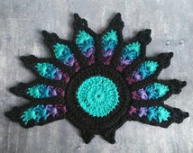 Peacock Feather Coaster. Unique quirky crochet, cotton, stained glass, black turquoise purple, unusual gift, talking point