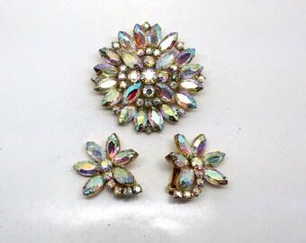 Stunning Vintage D&E Aurora Borealis Rhinestone Flower Brooch and Earring Set