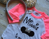 Minnie is My Homegirl Hot Pink Raglan Sparkly Bow Minnie Mouse Baby Toddler Girls