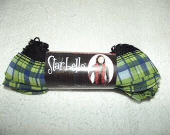 Premier Starbella Plaid Yarn, Shetland Plaid Yarn, Green and Blue Plaid Yarn