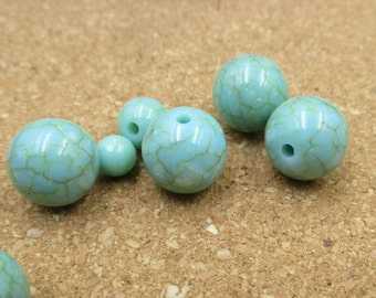 20pcs Turquoise Beads,Round Synthetic Turquoise Stone Beads,Four Diameters To Choose From(6mm,8mm,10mm,12mm)-s1033