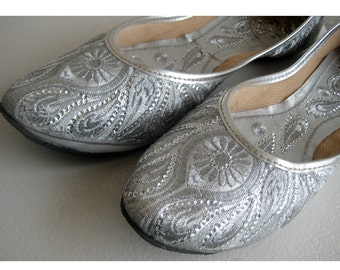Silver Sequin Bridal Ballet Flats/Silver Paisley Shoes/Wedding Shoes/Handmade Indian Designer Women Shoes or Slippers