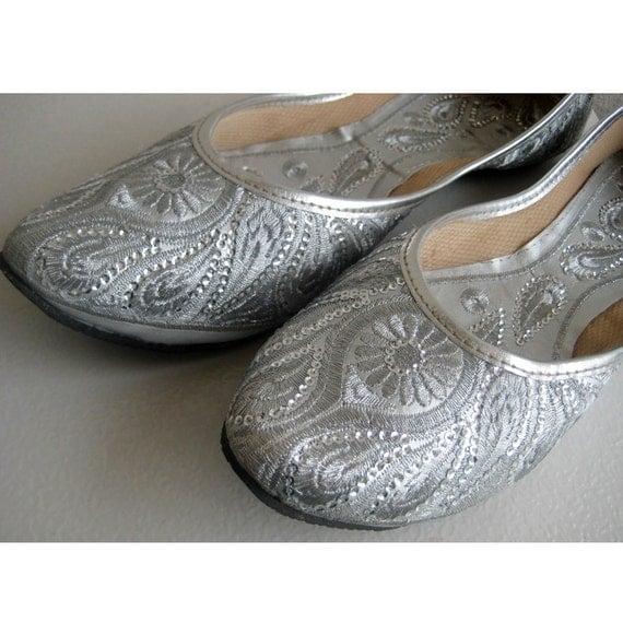 Silver Flats For Wedding: Silver Sequin Bridal Ballet Flats/Silver Paisley Shoes/Wedding