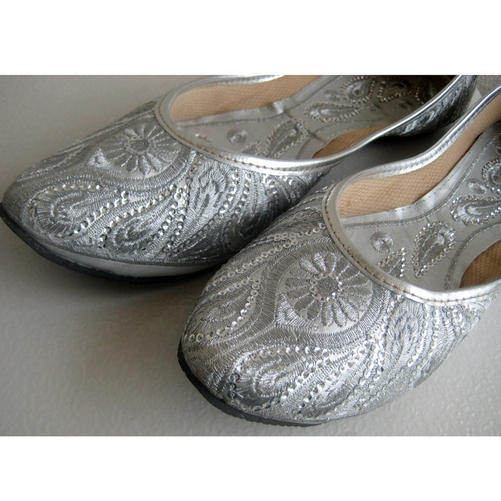 Silver Sequin Bridal Ballet Flats/Silver Paisley Shoes/Wedding