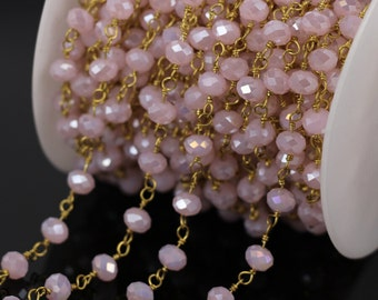 Dainty Gemstone Glass Chain for Bracelet Pink Glass Rosary Chain Genuine Faceted Glass Rondelle Beaded Chain everyday jewelry