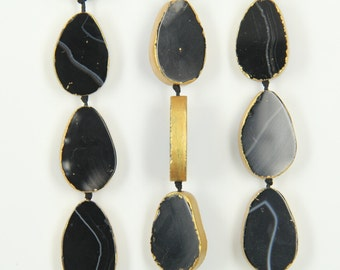11PCS Natural black agate smooth beads pendant,gold plated onyx stone nekclace,craft jewelry supplier,20-22x30-32mm