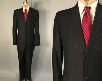 Vintage 1950s Men's Suit | 50s 60s Charcoal Grey Suit with Pewter Fleck | Size 40