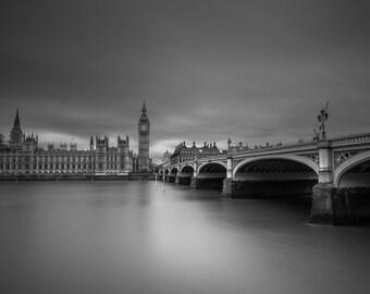 London Fine Art Photo Print: Big Ben, Elizabeth Tower, Parliament, Westminster Bridge and The Thames Photography, Photograph, England,