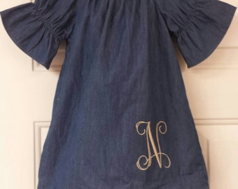 Girls dress / Peasant dress / Boutique dress / boutique clothing /Denim dress