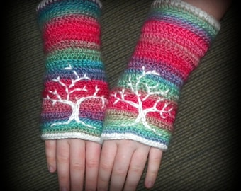 Texting Gloves -Tree of Life fingerless wrist-warmers
