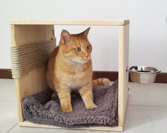 3 in 1: Cat Bed Feeder Scratcher, made of recycled wood with food bowl and super soft blanket included
