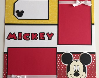 """12""""x12"""" Premade Mickey Mouse Scrapbook Layout, Disney, Mickey, Paper Piecing"""