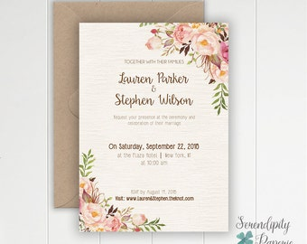 Rustic Floral Wedding Invitation Set Printable