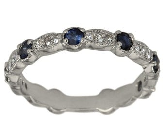 Diamond Wedding Band In 14k White Gold With Blue Sapphires & Milgrain Decoration