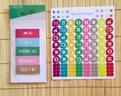 S196 - Household Dew Drop Icon, Asterisk Planner Stickers and Sticky Tab Set ~ 128 Stickers and 100 Page Flags