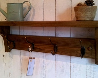 Rustic hallway coat rack with hooks,shelf and screws cover, handmade from solid wood