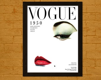 Get 1 Free Print *_* Vogue Cover Print 1950 - Fashion Illustration Vogue Poster Fashion Print Vogue Print Fashion Wall Art Vogue Poster Gift
