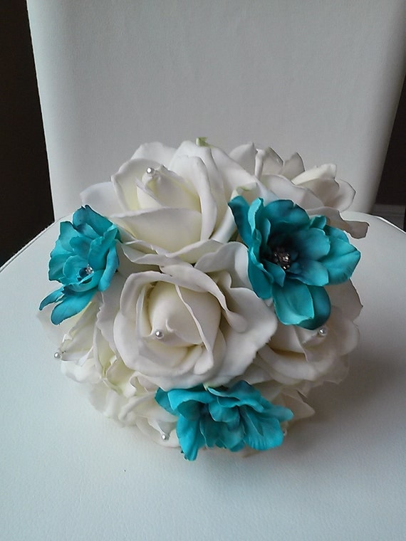 Bridal Bouquet Throwing : Bridal toss bouquet aqua by becauseoflovefloral