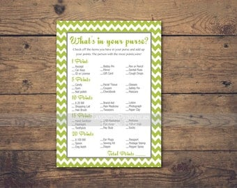 Green What's in your purse game, Baby shower games printable, Baby shower games, whats in your purse game bridal shower BS04