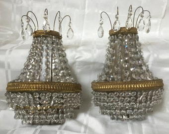 Antique Bronze Crystal Beaded Sconce French Empire Chandelier Wall Sconces Pair Germany