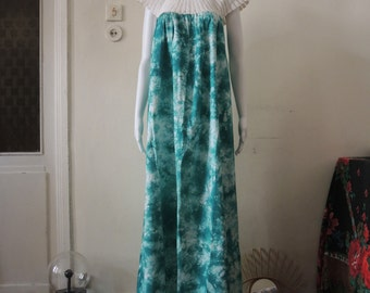 Vintage Batik Dip Dye Maxi Dress with Crochet