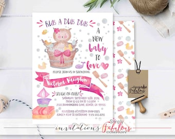 Rub A Dub Dub A New Baby To Love, Watercolor Baby Owl, Rubber Ducky Baby Shower Invitation, Bubbles, Pink, Purple, Bath, Girl DIGITAL FILE