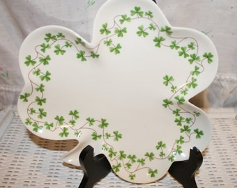 Porcelain Irish Shamrock Serving Platter Shannon by Godinger Porcelain Shamrock Lucky Clover Leaf