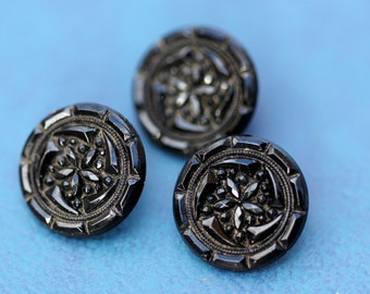 Set of 3 Antique Fine Black Glass Victorian Buttons with Rosette Shanks
