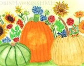Fall Garden Watercolor Print, Garden with pumpkins and gourds, Garden with multicolor flowers, Garden with yellow blue red and green
