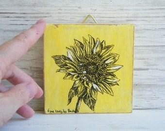 Miniature Painting, Sunflower Print, Botanical Print, Print On Wood, Nature Art, Wood Signs, Flower Wall Decor, Hostess Gift, Gift Under 15