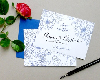 Save the Date Card - Roses & Individual Lettering