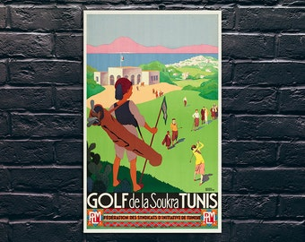 Vintage Golf Poster, Golf de la Soukra Tunis Travel Poster, Golf Art Print, Vintage Travel Poster Print, Sticker and Canvas Print
