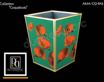 Waste basket - Coquelicots - Reverse painting on glass - AMA-02-PAB