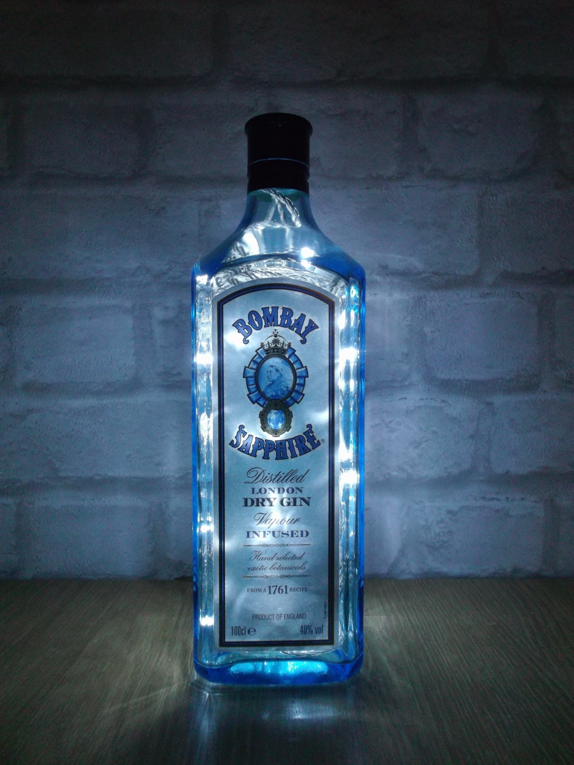 Upcycled Bombay Sapphire Dry Gin Bottle Lamp Ideal For Home