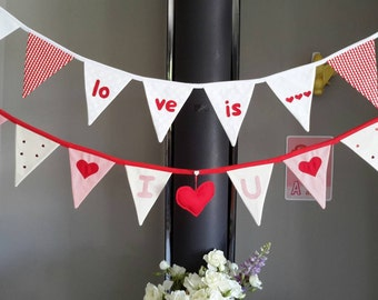 LOVE! bunting/banner, wedding bunting/banner, engagement bunting/banner, Valentines bunting/banner, engagement gift, wedding gift