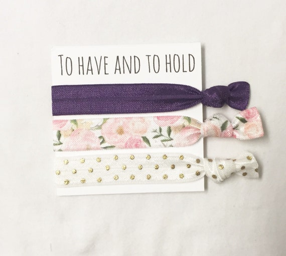 Bridesmaid hair tie favor//to have & to hold plum romantic floral and neutral//hair tie favor//hair tie card//