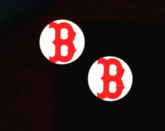 16mm Boston Baseball Inspired Earrings - Acrylic Earrings - Personalized Jewelry - Red Sox