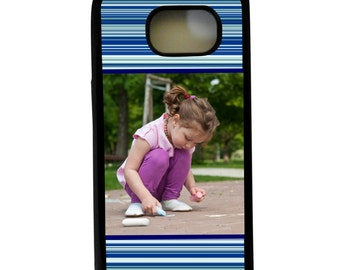 Personalized Phone case, Samsung Galaxy s6 case, Shades of blue Phone case, Blue Stripes  Samsung case, Photo phone case