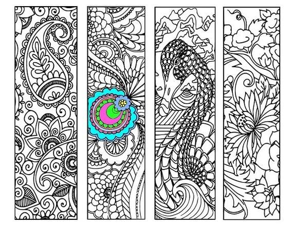 Bookmarks Coloring Printable, scaleable PDF file super quality, Instant Download. 36v.