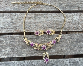 Vintage Purple and Lavender Rhinestone Choker Necklace and Earring Set 0739