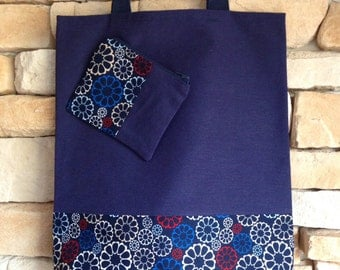 Set bag tote & wallet mini-neceser dark blue canvas and cotton fabric printed with flowers.